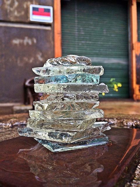 Broken Glass, Shards, Stacked, Factory, Balance