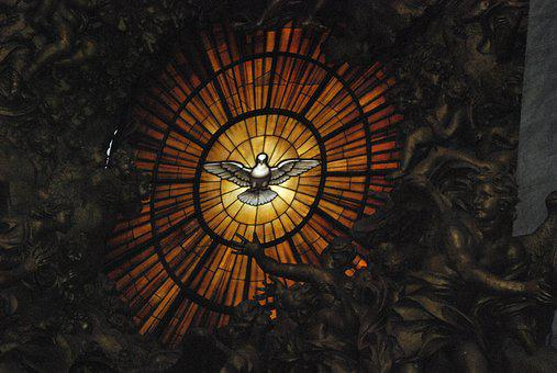 Stained Glass Window, St Peter's Basilica, Dove, Altar
