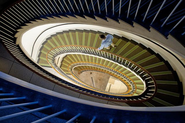 Architecture, Step, Indoors, Spiral, Staircase, Down