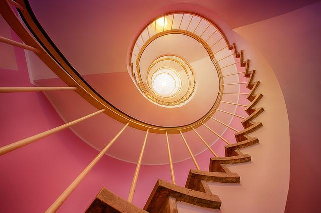 Spiral, Staircase, Stairs, Pink, Architecture