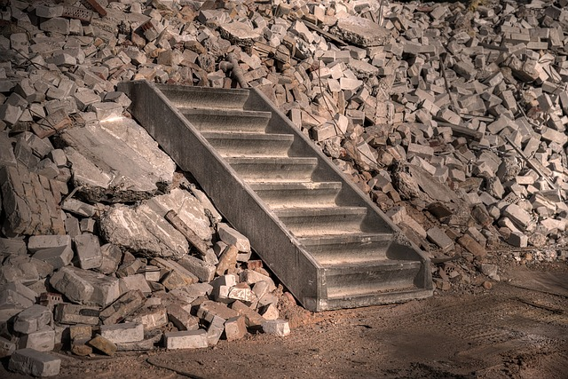 Stairs, Concrete, Construction, Demolition, Staircase