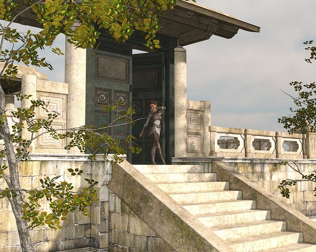 Woman, Go, Building, Temple, Stairs, Clothing, Nature