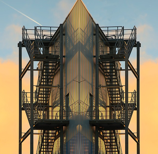 Steel Stairs, Stairs, Building, Factory Building, Hall