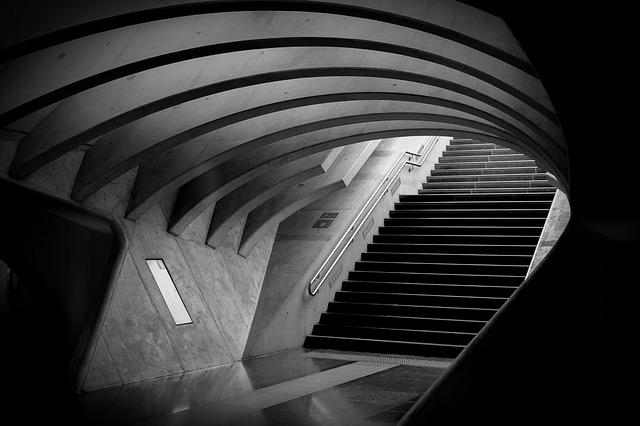 Architecture, Lines And Curves, Monochrome, Stairs