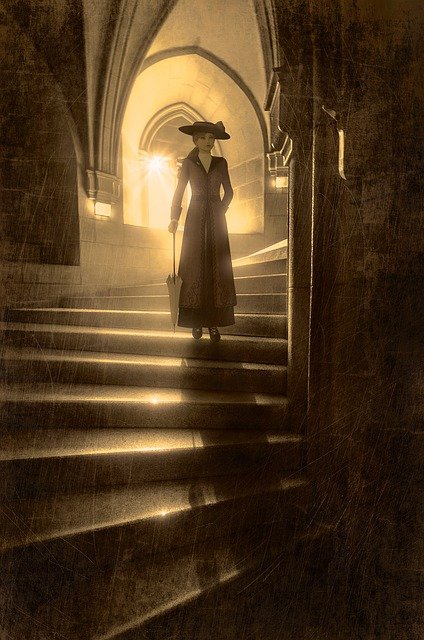 Woman, Stairs, Backlighting, Shadow, Mystical