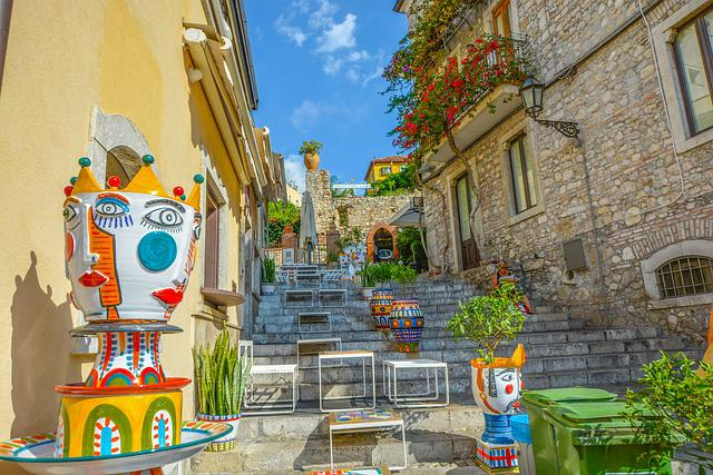 Stairs, Street, Sidestreet, Colorful, Art, Outdoors