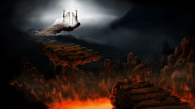 Hell, Purgatory, Heaven, Stairs, Path, Lucifer, Lava