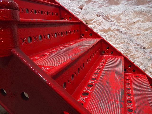 Red, Staircase, Gradually, Emergence, Stairs, Rise