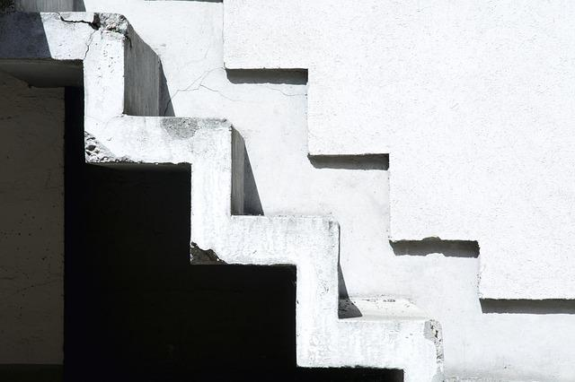 Stairs, Home, Black And White, Contrast, White, Plaster
