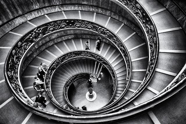 Stairway, Spiral, Monochrome, Architecture, Staircase