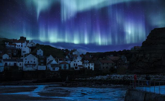 Aurora Borealis, Northern Lights, Yorkshire, Staithes