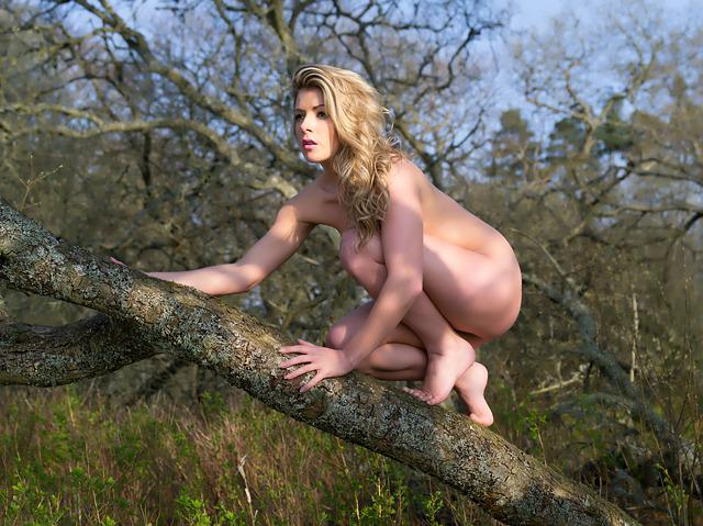 Model, Tillie Feather, Huntress, Stalking, Nature, Tree