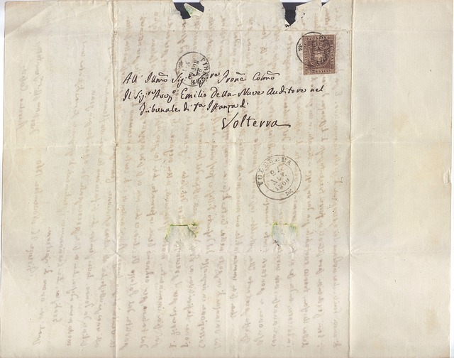 Letter, Rare, Volterra, Old, Map, Stamp, Mail