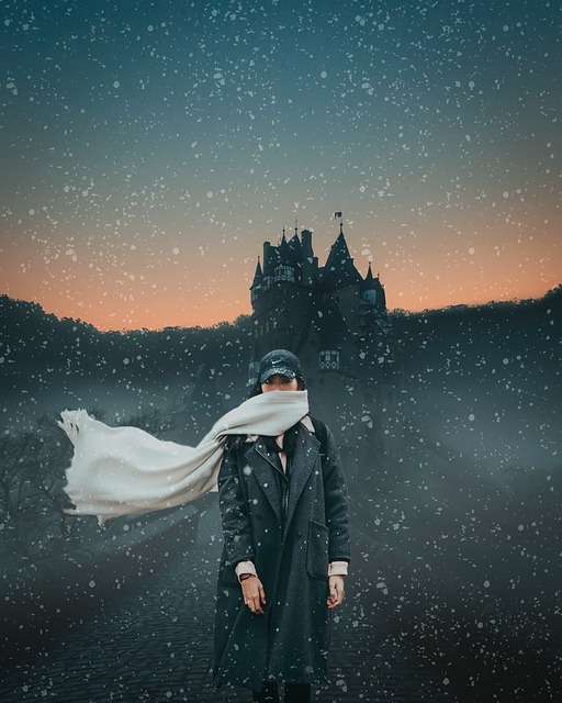 Girl, Standing, Snow, Castle, Dawn Sky, People