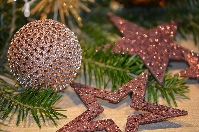 Christmas Balls, Balls, Star, Glitter, Brown, Christmas