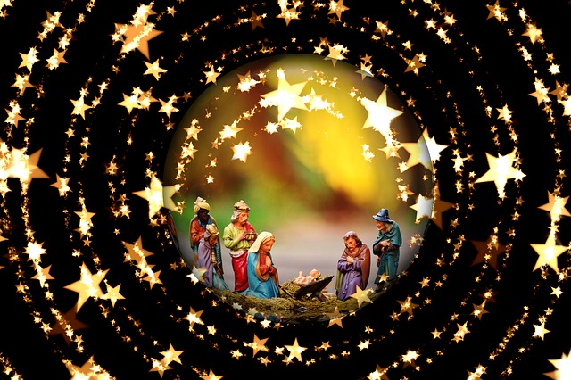 Crib, Christmas, Nativity Scene, Father Christmas, Star