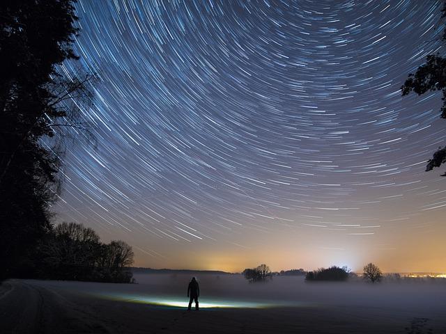 Star Trails, Star, Night, Light, Sky, Starry Sky, Dark