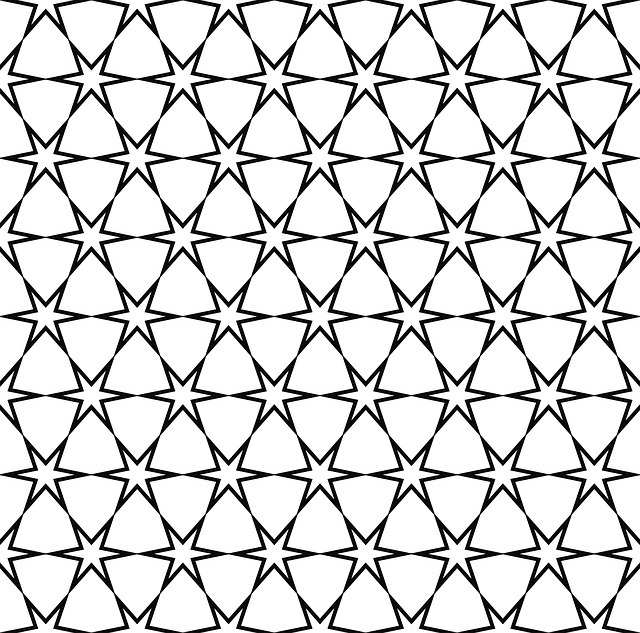 Star, Pattern, Seamless, Modern, Black And White