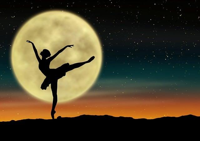 Star, Moon, Ballerina, Silhouette, Ballet, Starry Sky