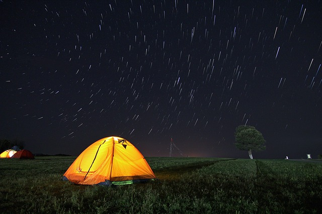 Tent, Star Tracks, Starry Sky