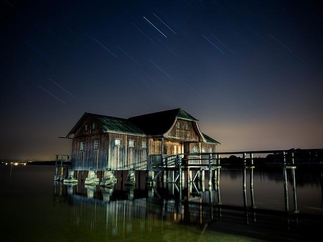 Stilt House, Stars, Star Trails, Starry Night