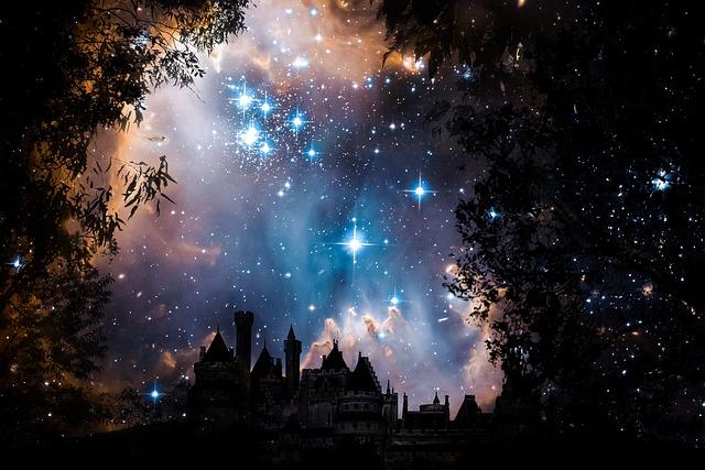 Night, Sky, Star, Rally, Trees, Landscape, Castle