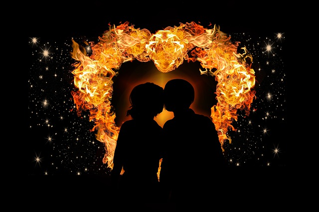 Heart, Love, Flame, Lovers, Universe, Sky, Star, Man