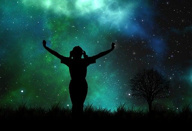Universe, Person, Silhouette, Star