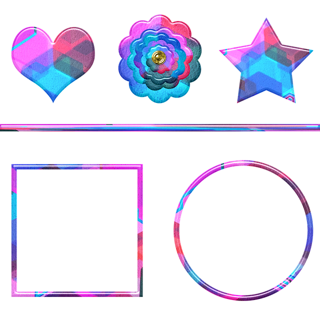 Watercolor Shapes, Frame, Star, Flower, Round Frame