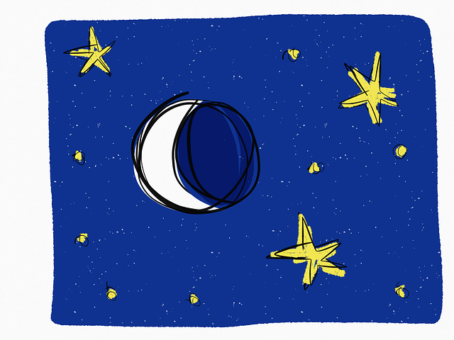 Moon, Stars, Night, Starry, Half-moon, Yellow, Blue