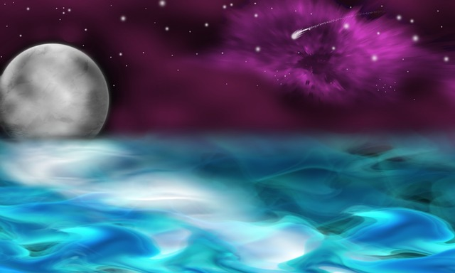 Ocean, Moon, Stars, Astronomy, Background, Abstract