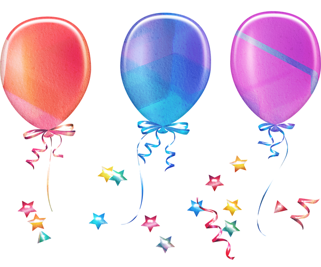 Balloons, Confetti, Curly String, Stars, Watercolor
