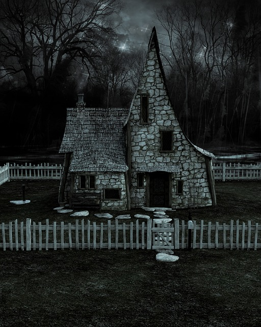 House, Cottage, Night, Stars, Forest, Fence, Exterior