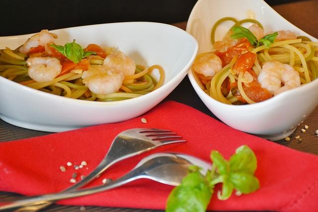 Spaghetti, Noodles, Tomatoes, Pasta, Starter, Scampi