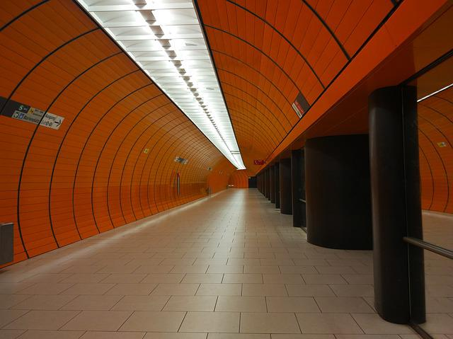 Metro, Station, Orange, Munich, Corridor