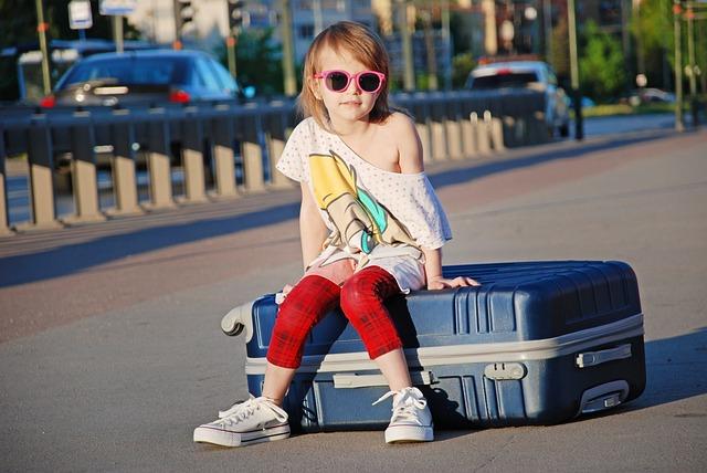 Street, City, Suitcase, Child, Vacation, Station