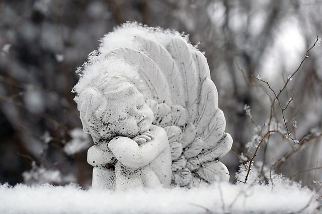 Snow, Winter, Frost, Frozen, Angel, Statue