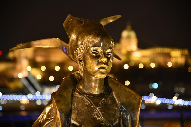 Budapest, The Danube, Statue, At Night