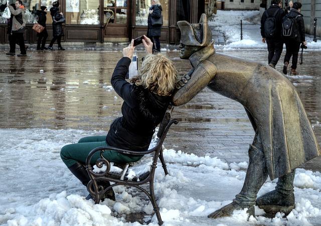Selfie, Statue, City, Tourism, Bratislava, Character