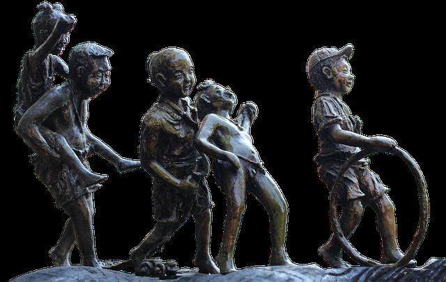 Statue, Bronze, Children, Play, Art, Bronze Figure