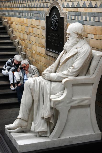 Statue, Darwin, Museum, Natural History, London