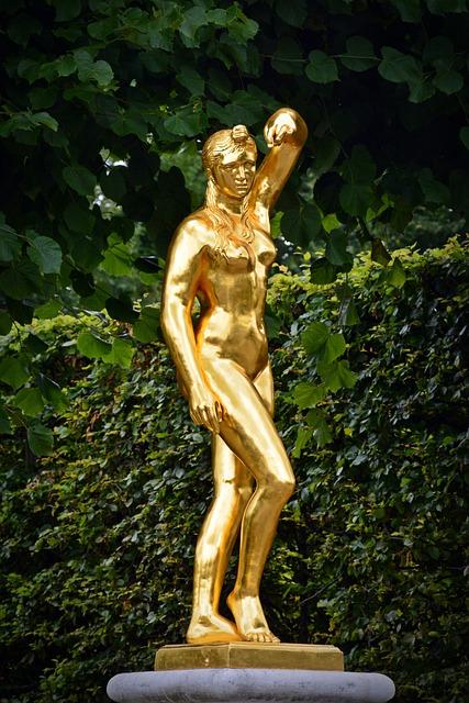Statue, Fig, Gold, Herrenhäuser Gardens, Hanover