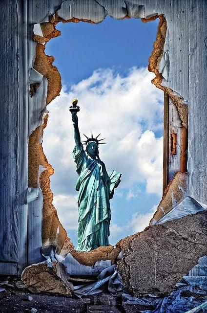 Door, Breakthrough, Door Sunburst, Statue Of Liberty