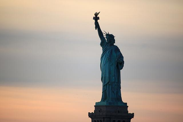 New York, Statue Of Liberty, Sunset, United States