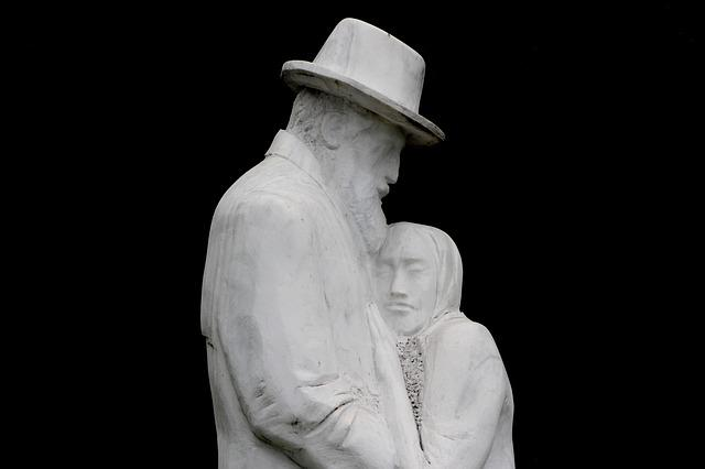 Statue, Man, Woman, Old, Love, Pair