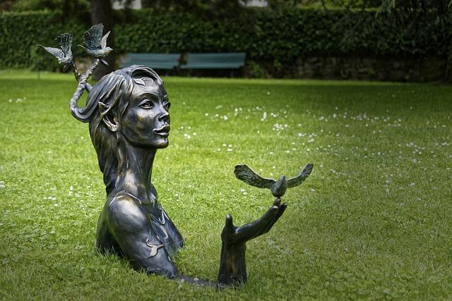 Statue, Woman, Garden
