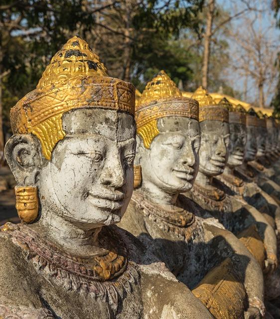 Cambodia, Kampong Cham, Khmer Art, Statues, Art