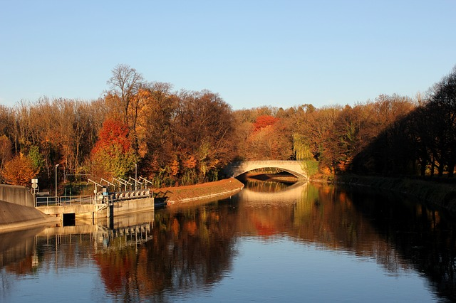 Munich, Stauwehr, Oberföhring, Bridge, Autumn