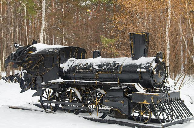 Steam Locomotive, Monument, Iron, Snow, Park, Trees