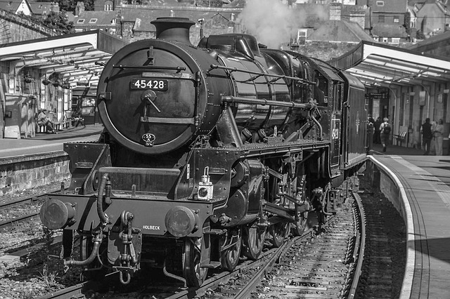Steam, Train, Whitby, England, Old, Black And White